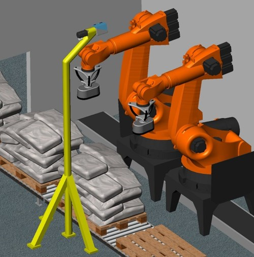 Robot plant for depalletizing of bags